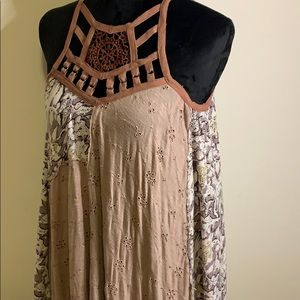 Free People Mixed Media Caged Tunic Top
